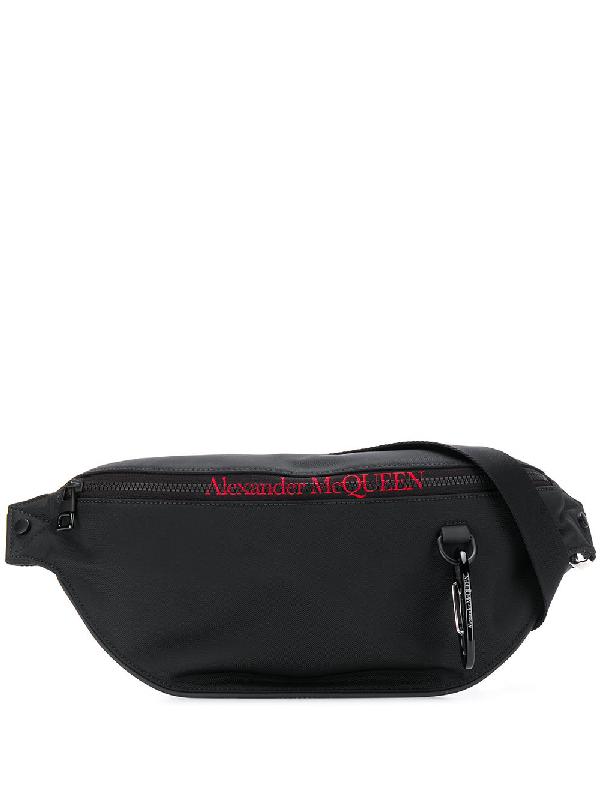 Alexander Mcqueen Logo-embroidered Technical Cross-body Bag In Black