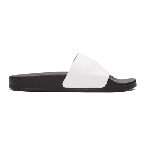 Balmain White Leather Calypso Womens Slide Sandals In 100 Blanc