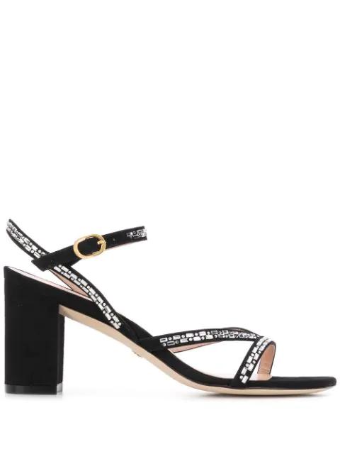 Stuart Weitzman Women's Harlowe Crystal Embellished Sandals In Black