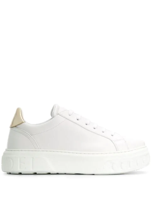 Casadei Chain Embossed Sneakers In White