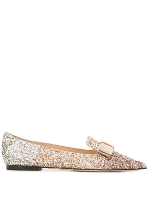 Jimmy Choo Gala Glitter Ballerina Shoes In Rose Gold/g