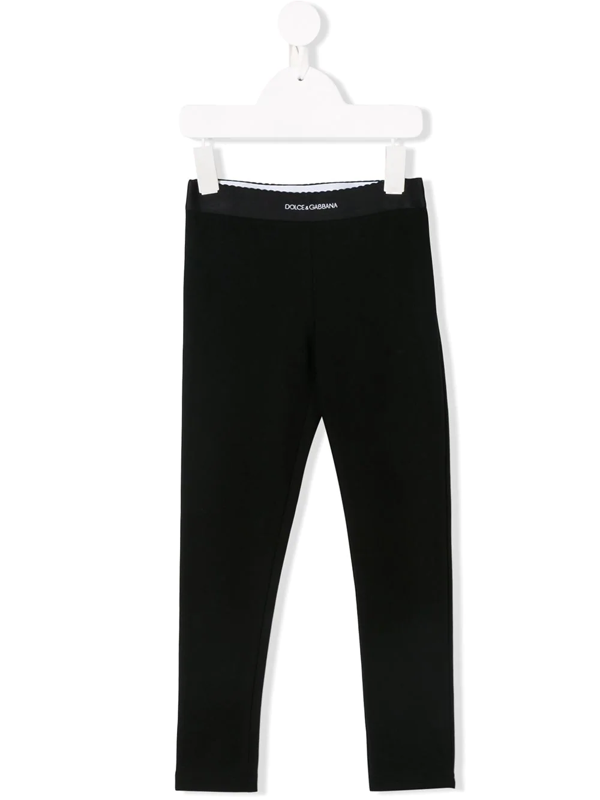 Dolce & Gabbana Kids' Cotton Blend Interlock Leggings In Black