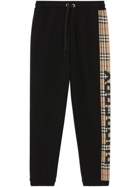 Burberry Raine Vintage Check Panel Cotton Track Pants In Black