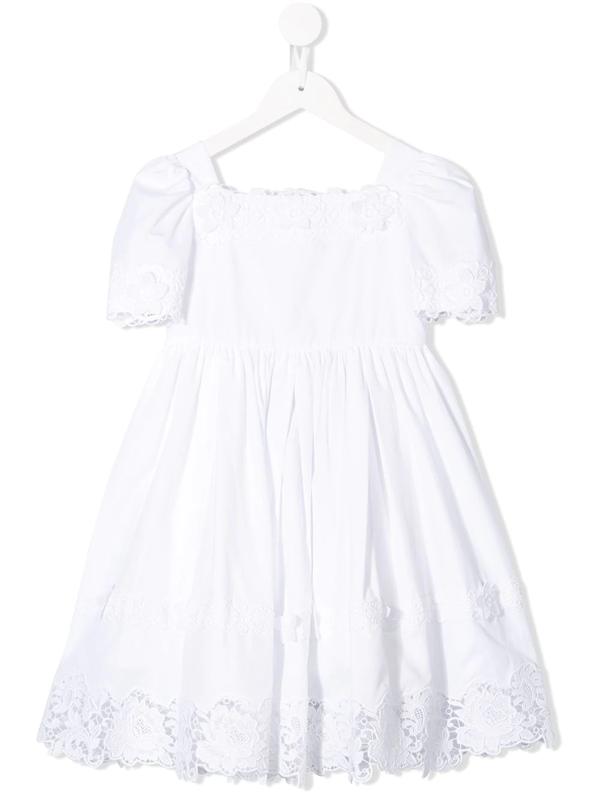Dolce & Gabbana Kids' Embroidered Square Neck Dress In White