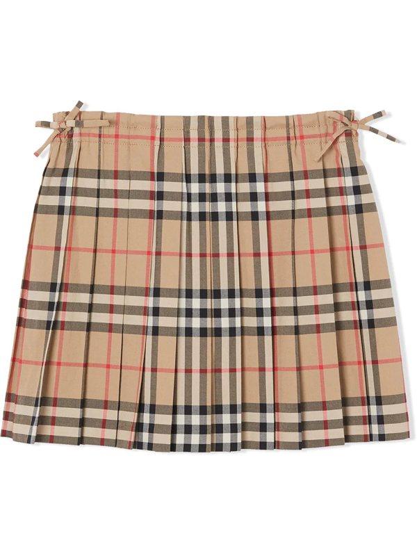Burberry Kids' Little Girl's & Girl's Pearly Pleated Tartan A-line Skirt In Neutrals