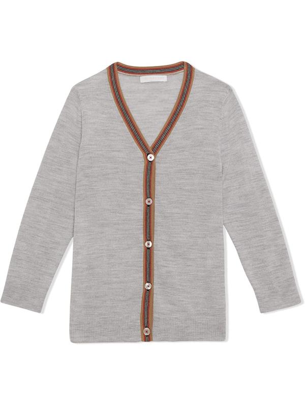 Burberry Kids' Icon Stripe Detail Cardigan In Grey