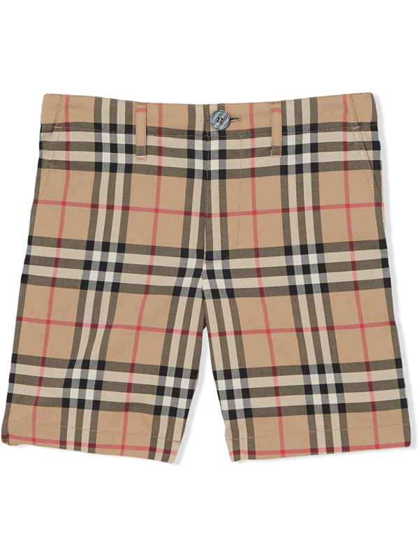 Burberry Kids' Vintage Check Print Shorts In Neutrals