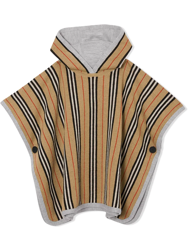 Burberry Kids' Reversible Striped Poncho In Neutrals