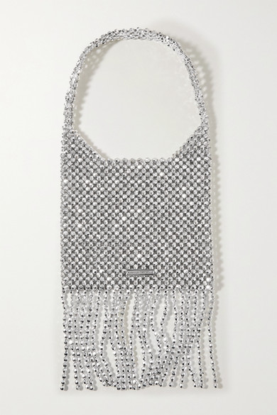 Loeffler Randall Cher Fringed Metallic Beaded Shoulder Bag In Silver