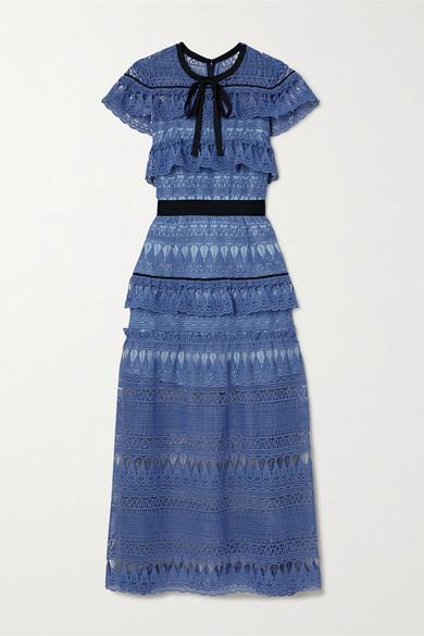 Self-portrait Daphne Grosgrain-trimmed Ruffled Guipure Lace Midi Dress In Azure