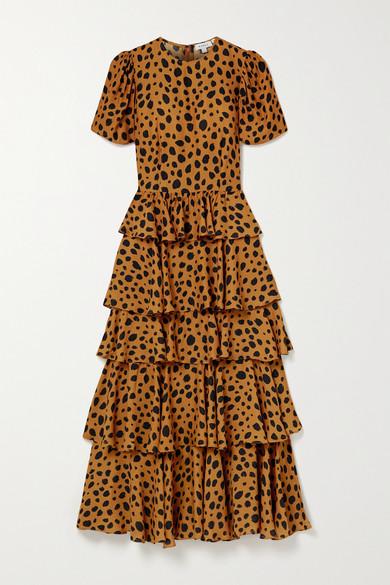 Rhode Serena Tiered Animal-print Crepe Maxi Dress In Orange