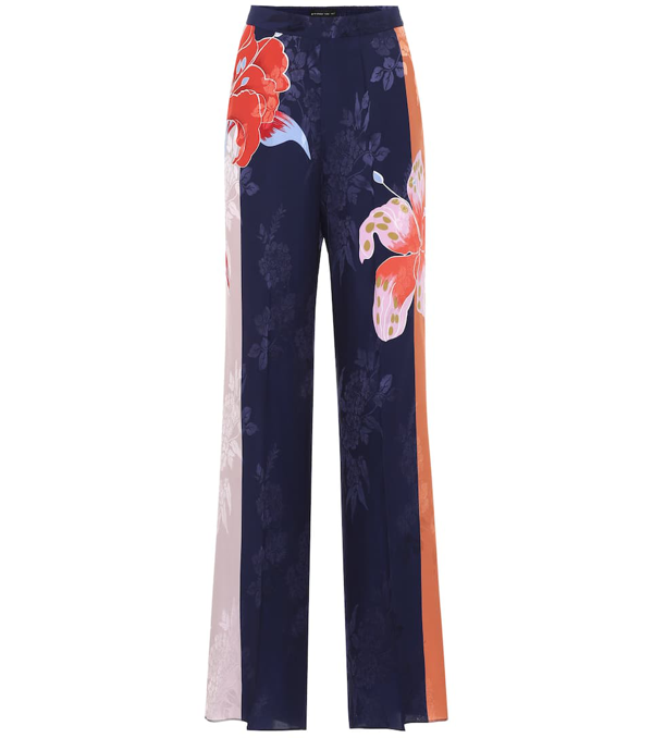 Etro Floral-print Satin-jacquard Wide-leg Pants In Navy