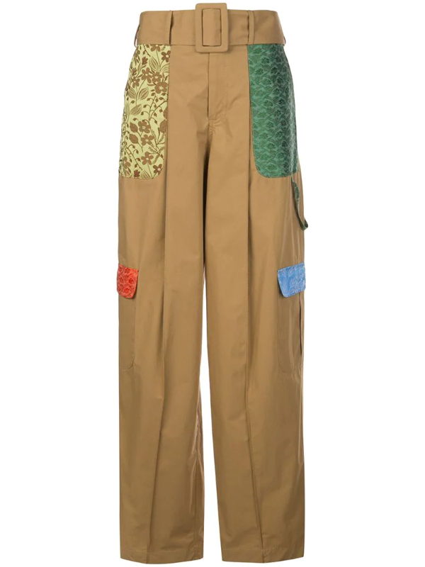 Rosie Assoulin Belted Jacquard-trimmed Cotton Wide-leg Pants In Brown