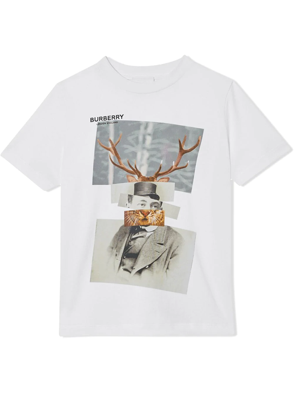 Burberry Kids' Collage Print T-shirt In White