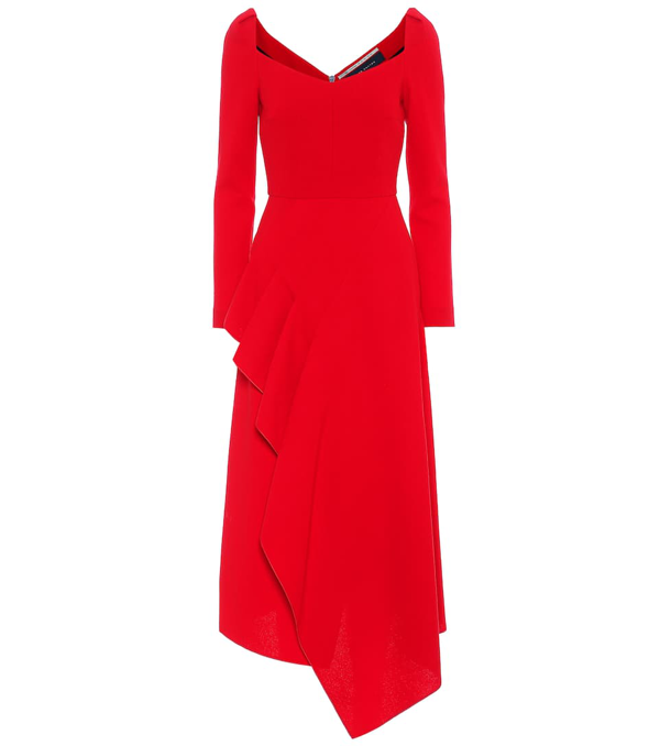 Roland Mouret Blackwater Draped Wool-crepe Midi Dress In Red