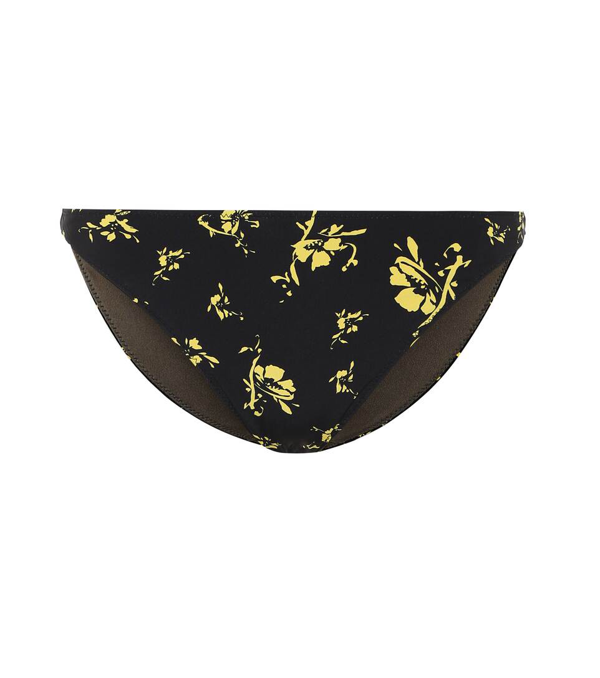 Ganni Flower Print Bikini Bottoms In Black