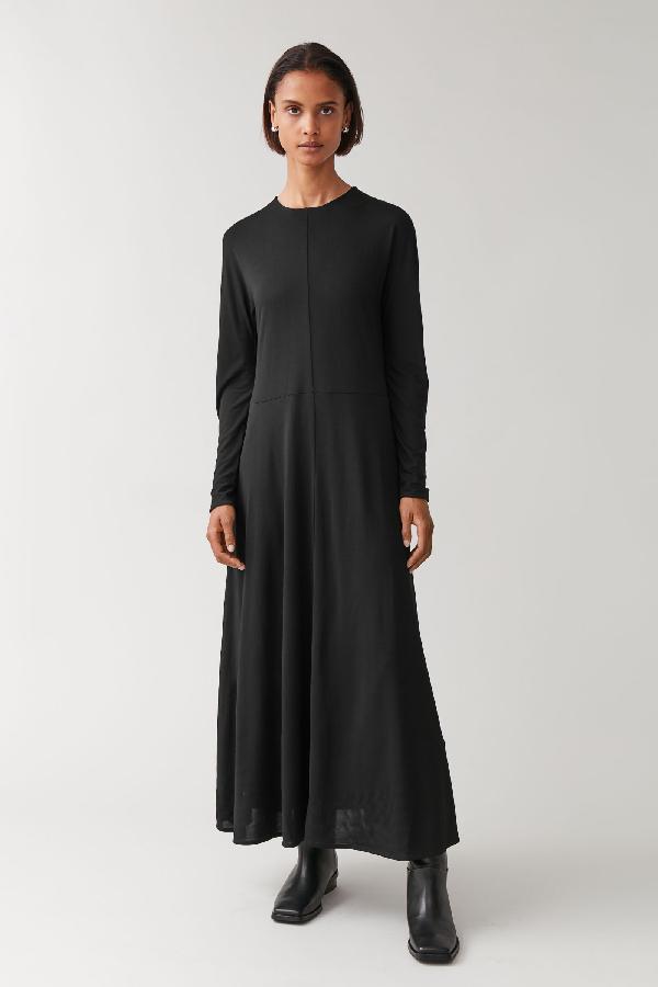 Cos Long Slim-fit Dress In Black