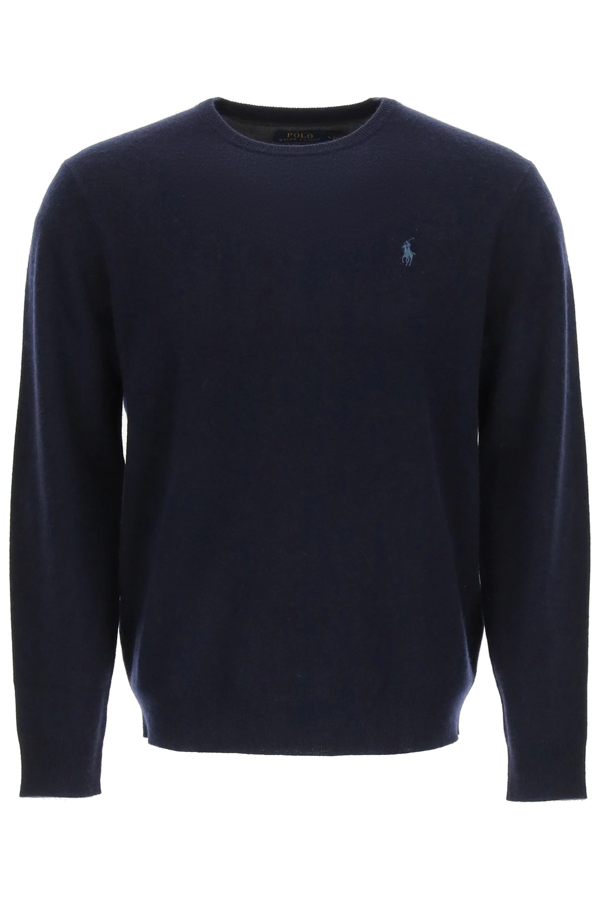 Polo Ralph Lauren Wool Sweater With Embroidered Pony In Blue