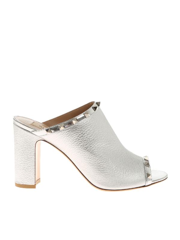 Valentino Garavani Silver Mule Sandals With Studs