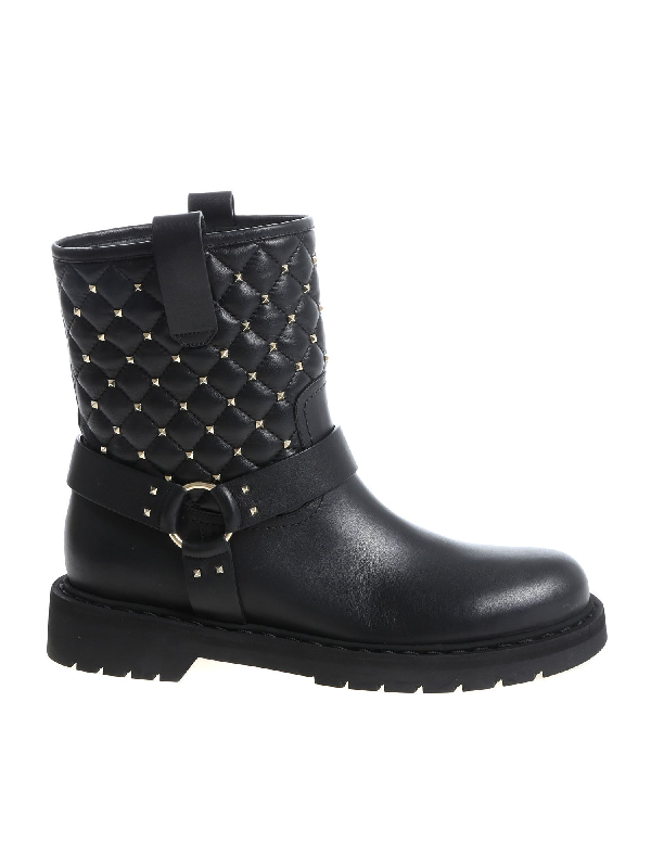 Valentino Garavani Black Ankle Boots With Golden Metal Studs