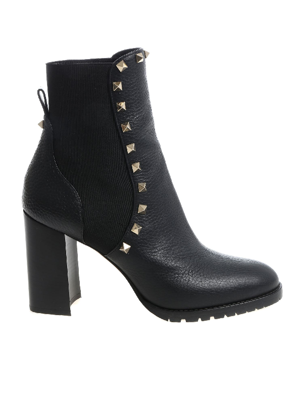 Valentino Garavani Black Ankle Boots With Studs