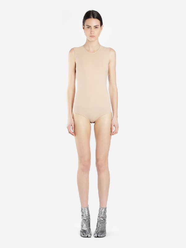 Maison Margiela Nude-colored Sleeveless Body In Pink