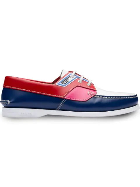 Prada Logo-patch Leather Deck Shoes In Blue