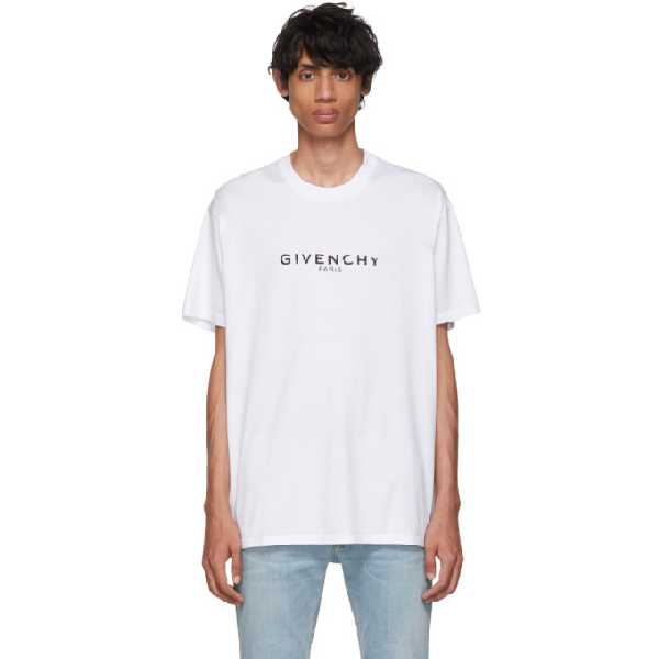 Givenchy White T-shirt With Vintage Rubberized Logo