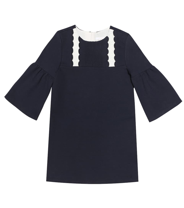 Chloé Kids' Blue Dress With White Embroidered Details