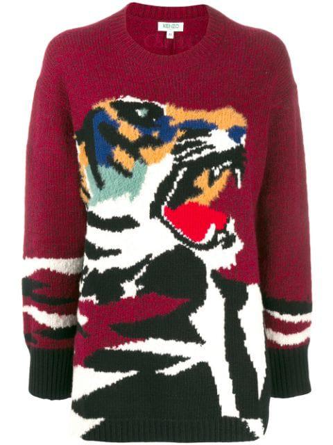 Kenzo Tiger Intarsia Pullover In Burgundy In 23 Bordeaux