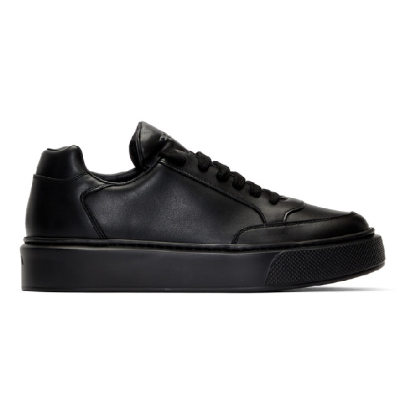 Prada Black Leather Sneakers With Logo