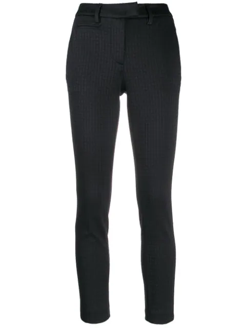 Dondup Perfect Houndstooth Trousers In Black