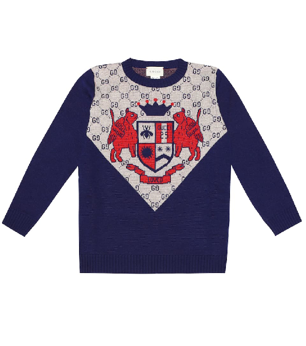 Gucci Kids' Gg Wool Inlay Pullover In Blue