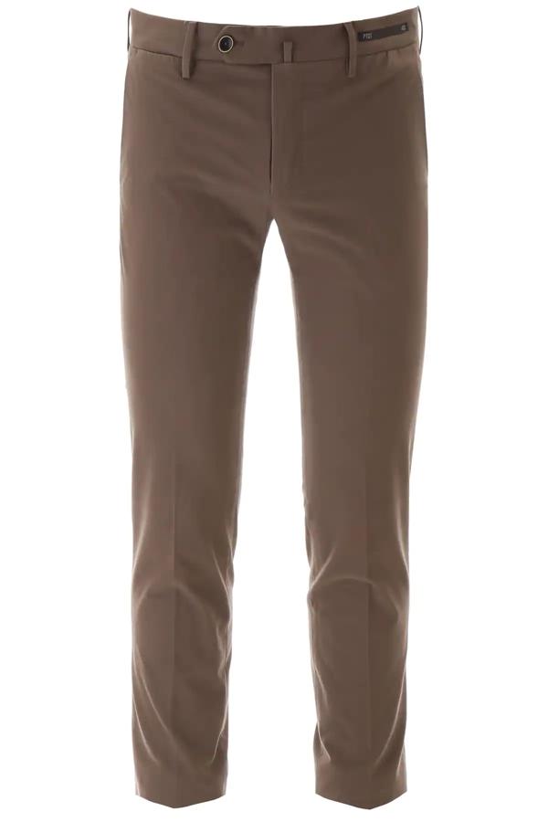 Pt01 Super Slim Fit Trousers In Brown In Beige