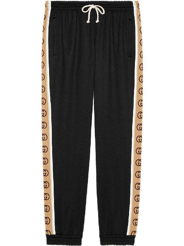 Gucci Gg-jacquard Side-stripe Technical Track Pants In Black