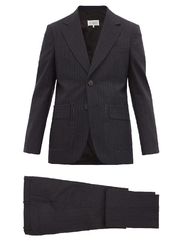 Maison Margiela Pinstripe Wool-blend Seersucker Suit In Navy