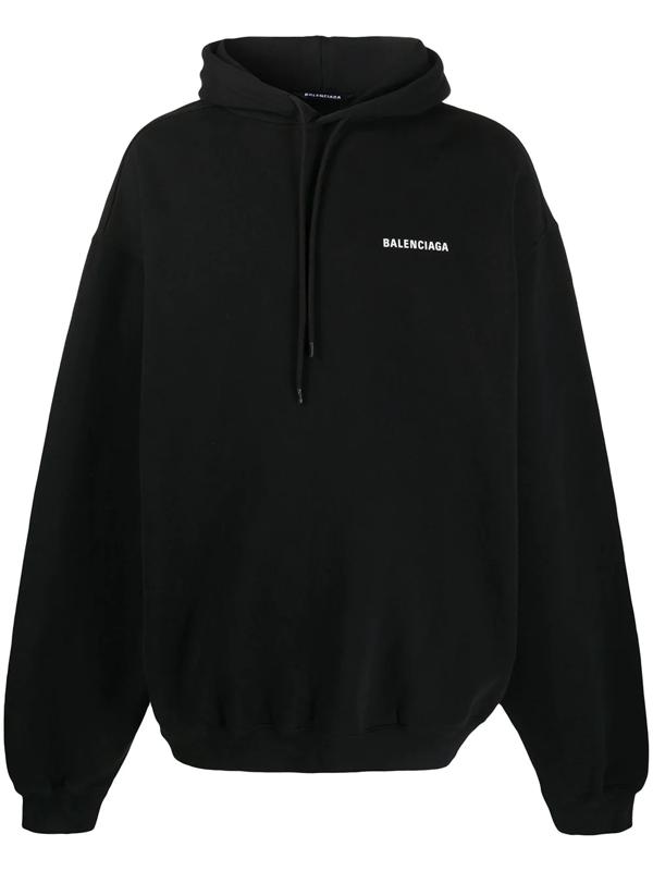 Balenciaga Logo-embroidered Cotton-jersey Hooded Sweatshirt In Black
