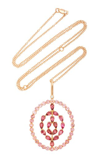 Misahara Plima Flow 18k Rose Gold Diamond And Tourmaline Necklace In Pink