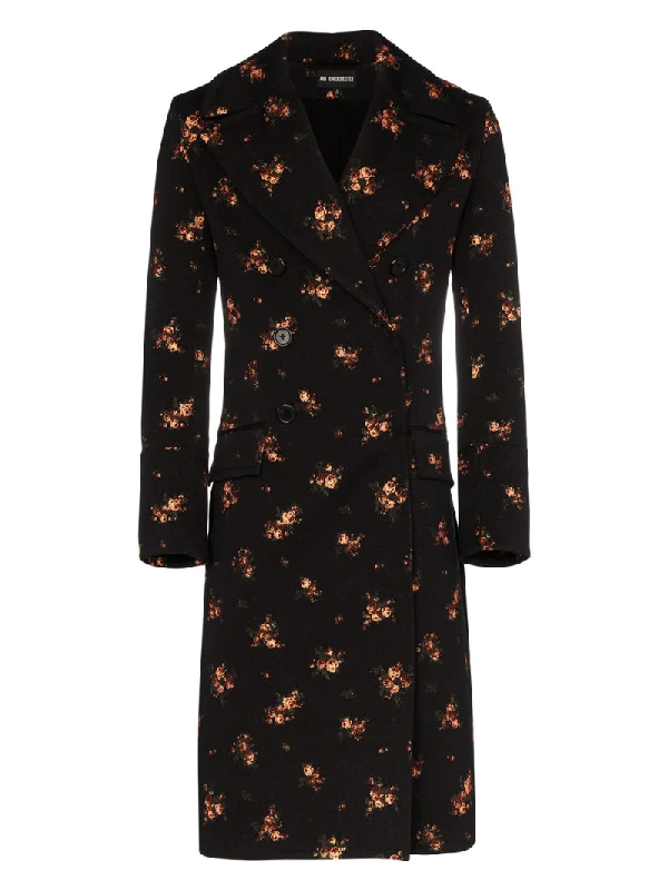 Ann Demeulemeester Floral Embroidered Double-breasted Coat In Black