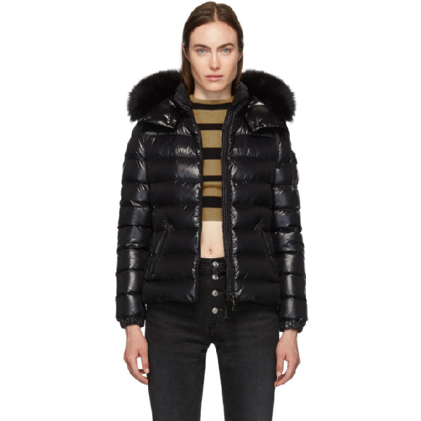 Moncler Badyfur Quilted Down Puffer Jacket With Removable Genuine Fox Fur Trim In Black