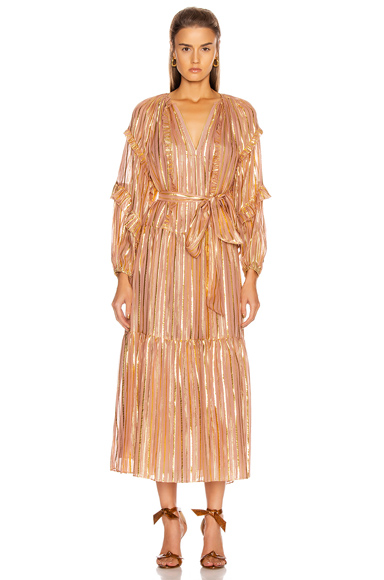 Ulla Johnson Talitha Metallic Stripe Long Sleeve Silk Maxi Dress In Pink