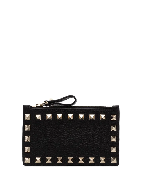 Valentino Garavani Black Rockstud Leather Card Holder
