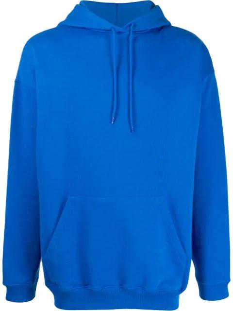 Balenciaga Oversized Logo Print Hoodie In Blue