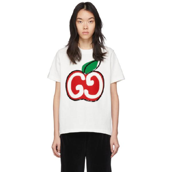Gucci Mela Logo T-shirt In 9381 Ivory