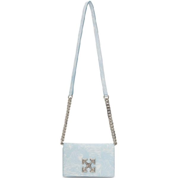 Off-white Women's Jitney 0.5 Waves Leather Crossbody Bag In Light Blue