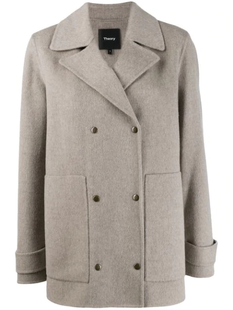 Theory Double-breasted Coat In Beige Melange In Ydb Taupe Grey New Divide Luxe