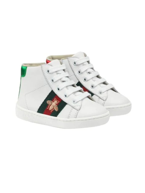 Gucci Kids' New Ace Embroidered Leather High Top Tennis Shoes, Toddler In White