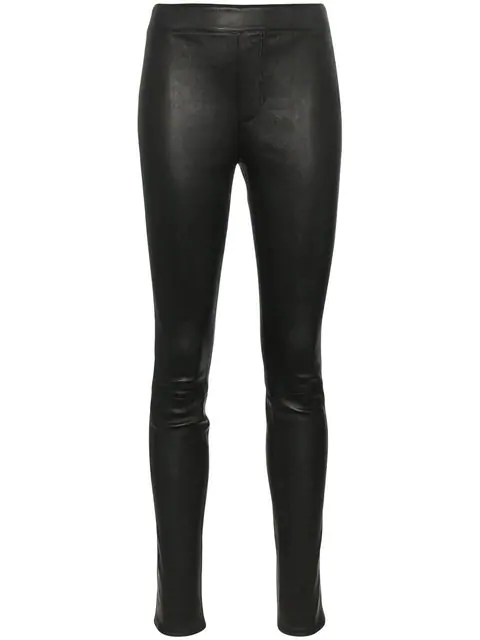 Helmut Lang Stretch Lambskin Leather Leggings In Black