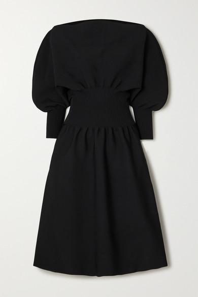 Bottega Veneta Balloon-sleeve Stretch-jersey Midi Dress In Black
