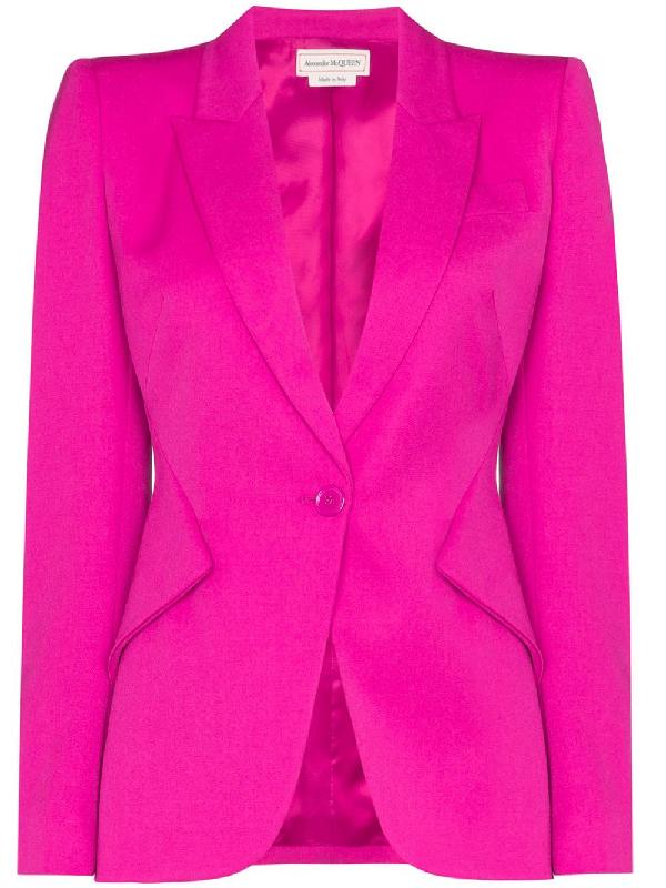 Alexander Mcqueen Single-breasted Wool-blend Leaf-crepe Blazer In Pink